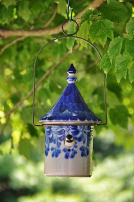 Eldreth Pottery salt-glazed pottery birdhouse