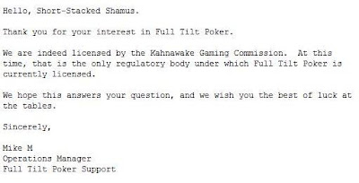 My query to Full Tilt Poker
