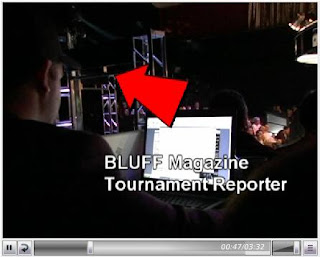 A still from CardPlayer's video depicting a Bluff reporter cutting and pasting chip counts