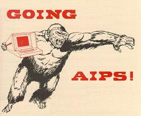 'Going AIPS' image modified from the cover of a booklet 'Astronomical Image Processing System' containing documentation, located at http://www.aoc.nrao.edu/aips/aipsdoc.html#GOAIPS