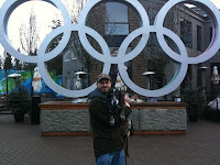 Poker reporter B.J. Nemeth and Rhapsody in Vancouver at the start of the 2010 Winter Olympics