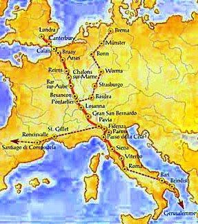 Mappa della via Francigena strada Romea che da Canterbury conduce alle città delle tre peregrinationes maiores: Roma, Santiago de Compostela e Gerusalemme