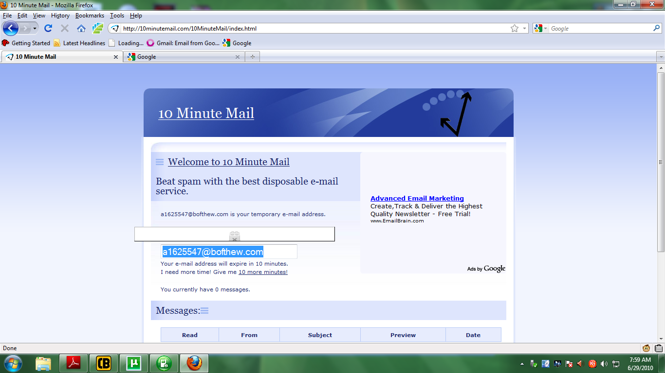 Cybertronic Devil: DISPOSABLE EMAIL ID (10 Minute Mail)