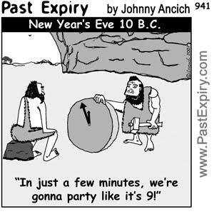 [CARTOON] New Year's Eve 2009 , images, pictures, image, picture, cartoon, caveman, holiday, men, prehistoric, women