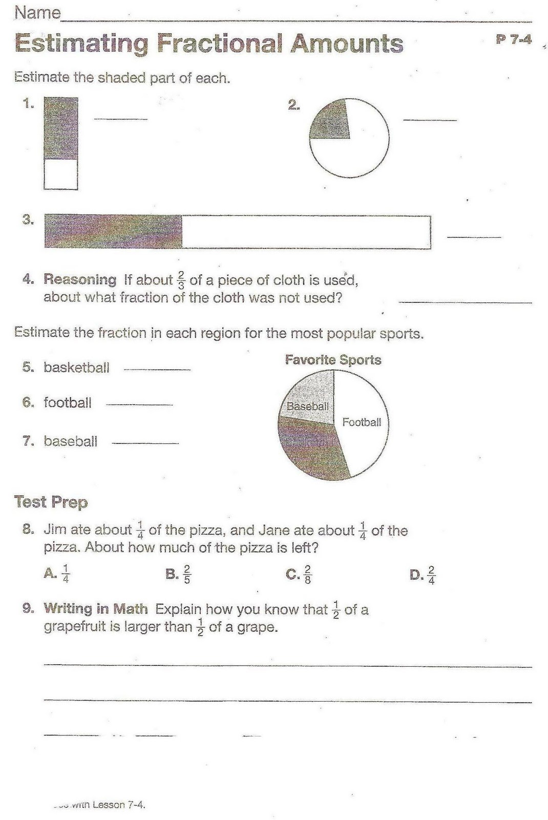Fractions For 5th Grade Worksheet