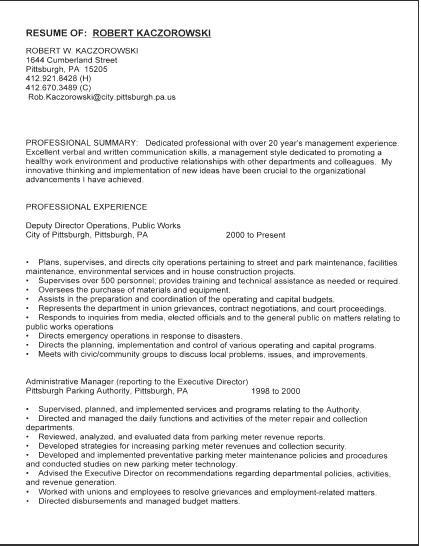public works director resume public works director resume