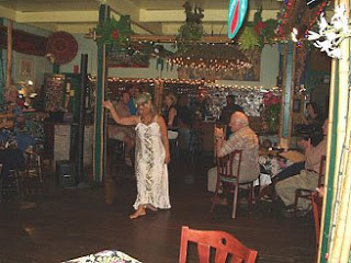 Hope dancing a graceful hula for Bamboo Restaurant guests