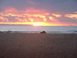 Hawaii sunset over Salt Pond Kaui