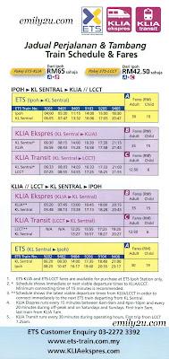 [ETS] Ipoh - KL Sentral - KLIA2 / KLIA (Train Schedule & Fares)