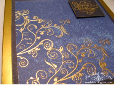 Male birthday card Flourish Blue and Gold close up