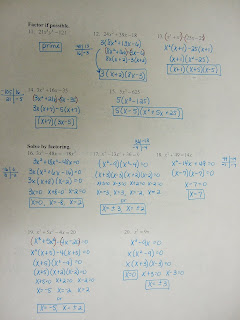 We finished Review of Factoring Notes (ex&le 6) Do #16-25 on the Review of Factoring worksheet 6.1 and Factoring Quiz tomorrow! & Mrs. Bowers\u0027 Classes: 2008