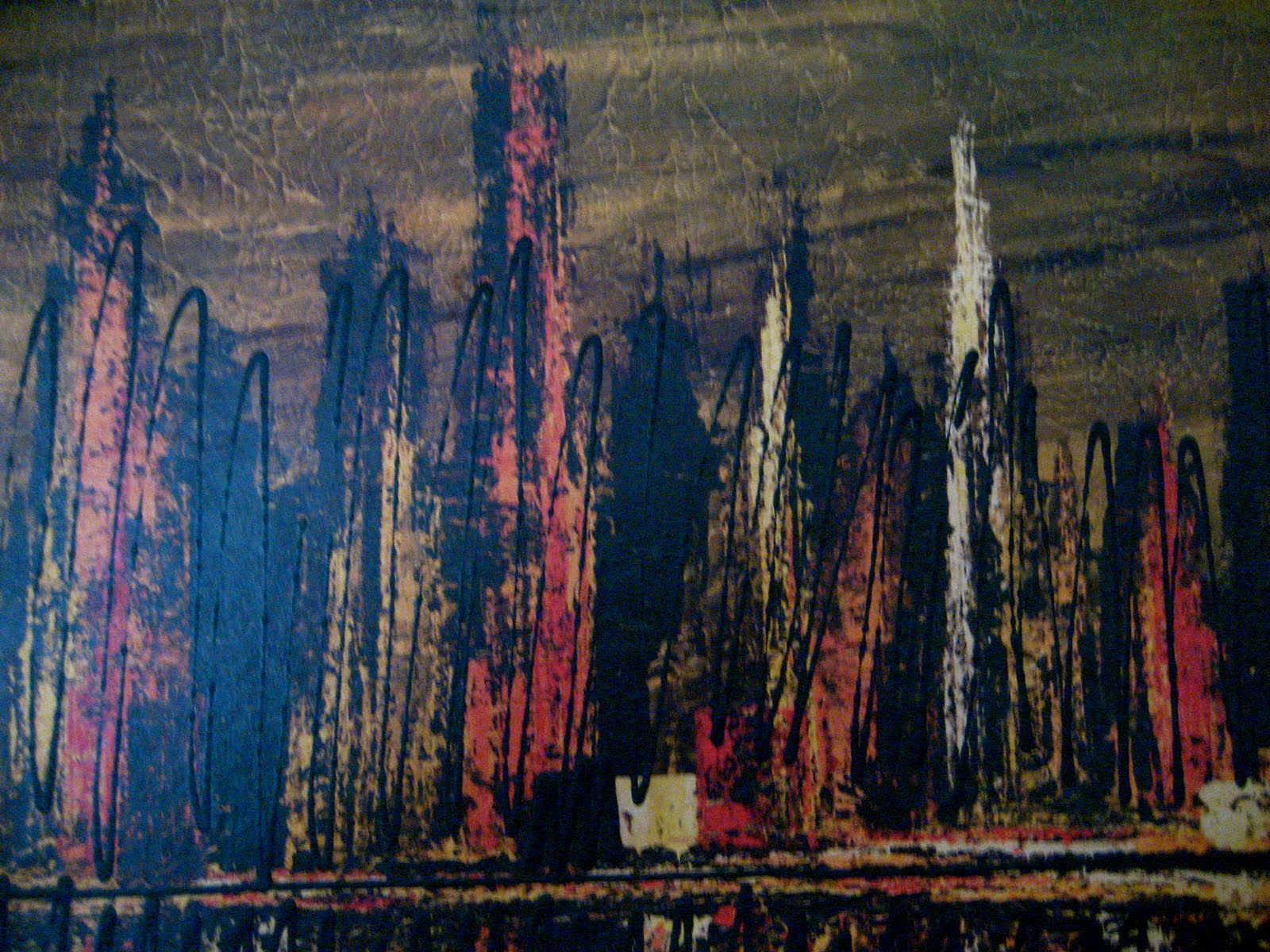 Mid Century Furniture Austin Huge Abstract Cityscape Picture