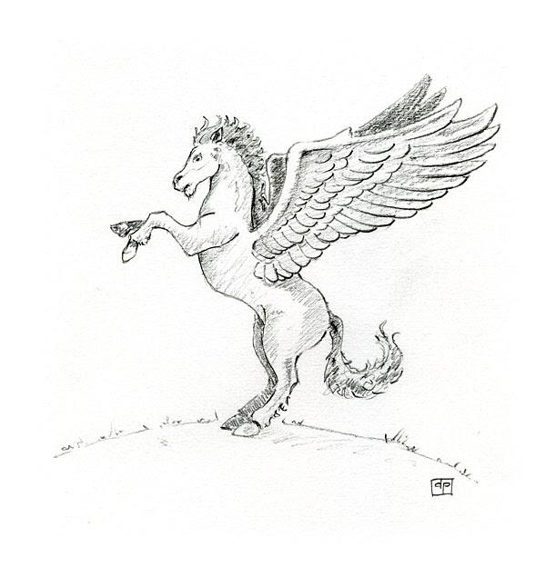 Les dessins de daniel croquis de p gase sketch of pegasus - Dessin de pegase a imprimer ...