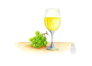 Les dessins de daniel aquarelle d 39 un verre de vin blanc glass of white wine watercolour - Verre de vin dessin ...