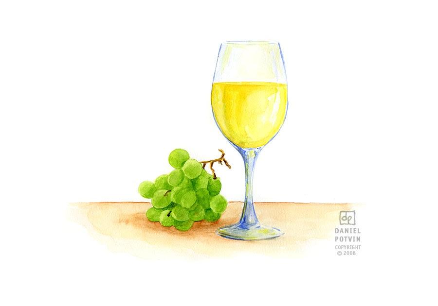 les dessins de daniel aquarelle d 39 un verre de vin blanc glass of white wine watercolour. Black Bedroom Furniture Sets. Home Design Ideas
