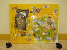 cuadro titulado(fucking money)custodiado por osos de goma negros antistresssssss
