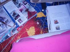 suelito pintadito entre revistas moda y manta rosa