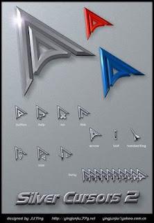 Silver Cursors Optimized 21 Cusor pack Untuk Windows Xp dan Windows 7
