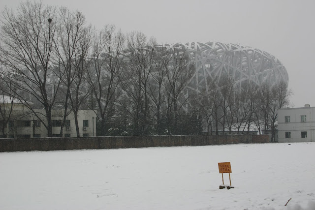 Beijing Olympic stadium under construction