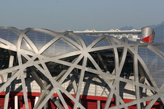 Olympic flame base stands tall