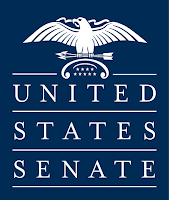 The US Senate sign is blue and white, just like those handicapped parking signs