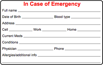 Cycling skills in case of emergency ice card for Medical alert wallet card template