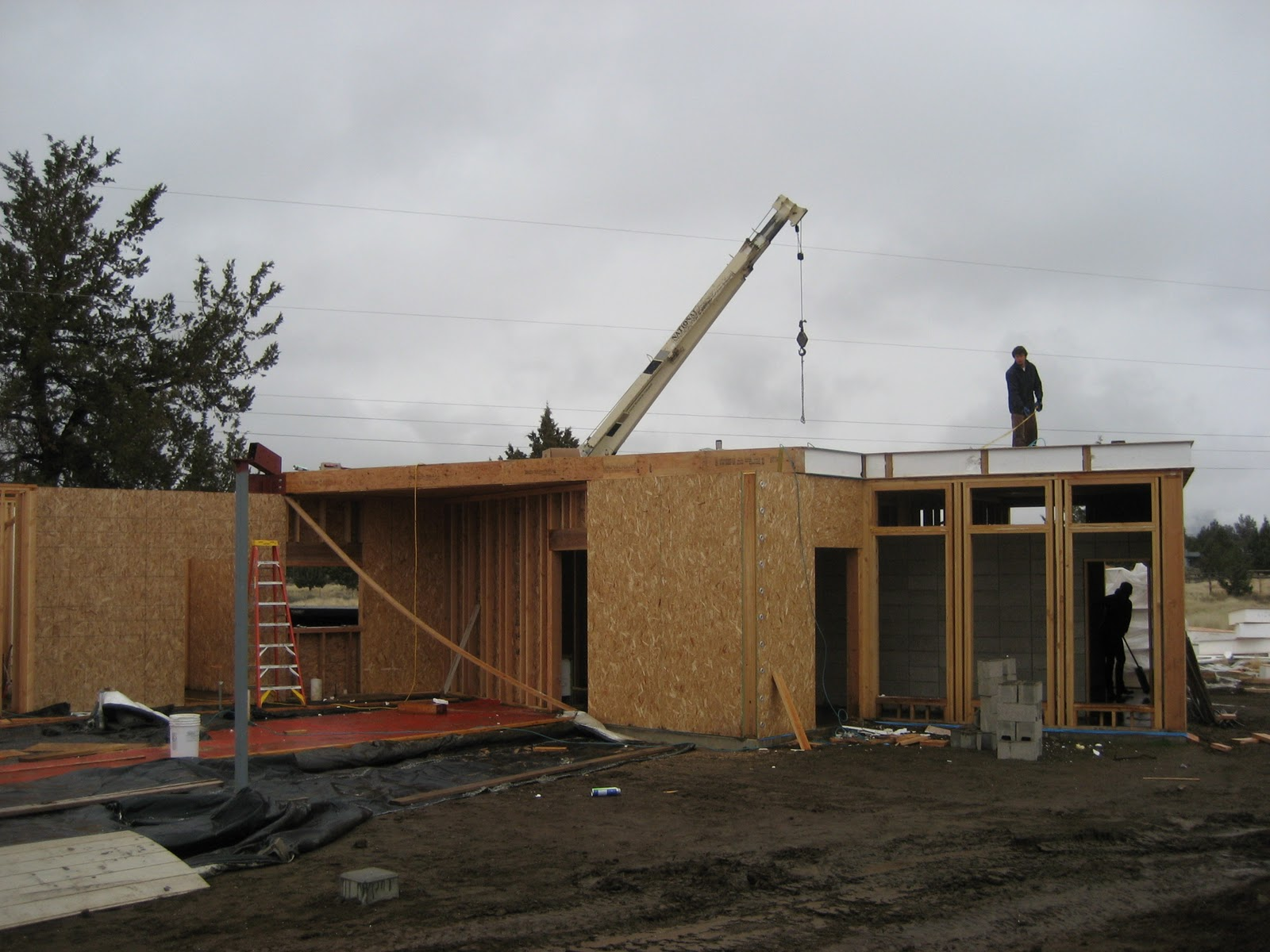 Roundup Ranch: Dec 2-3: SIP Flat Roof Installed