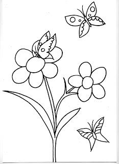 Dibujos Infantiles Para Colorear Dibujo De Flores Y Mariposas Para