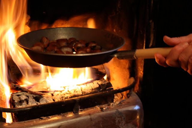 Chestnuts roasting on the fire