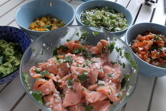 Salmon ceviche, guacamole, mango and spring onion salsa, tomatillo salsa, salsa asado