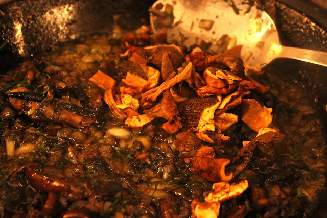 Wild mushrooms and onions fried in plenty of butter, the start of the stuffing for the cabbage