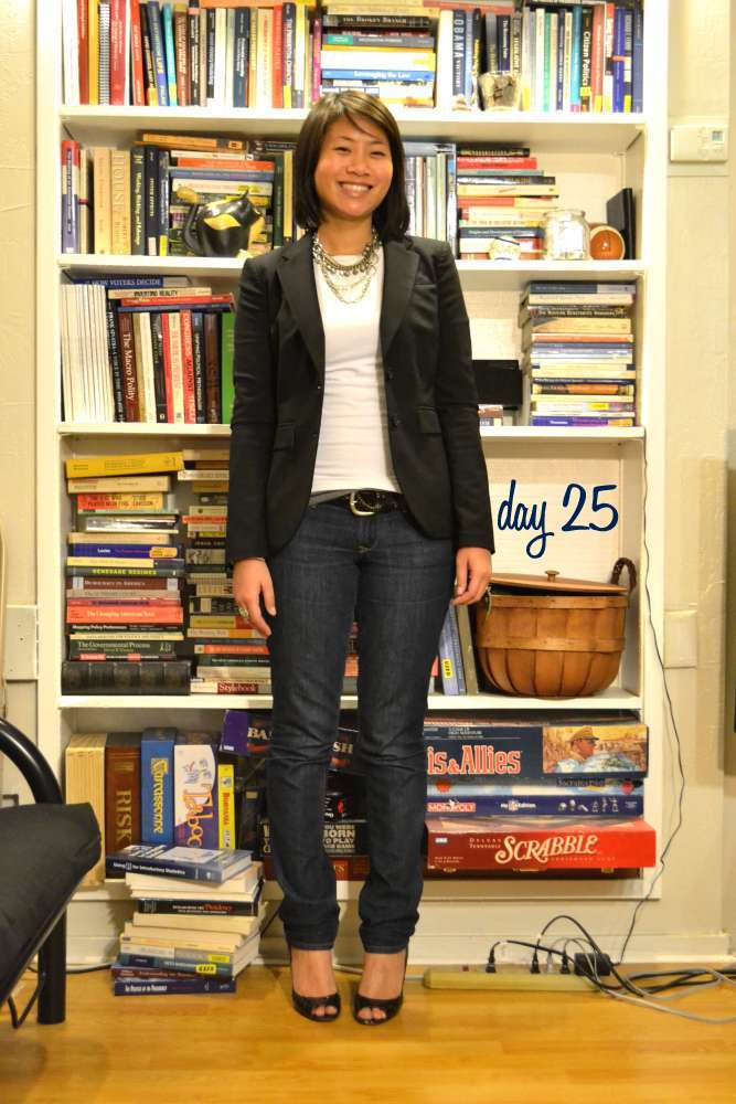 office fashion blog the new professional angeline huang evans business casual friday skinny jeans heels banana republic blazer layered chains
