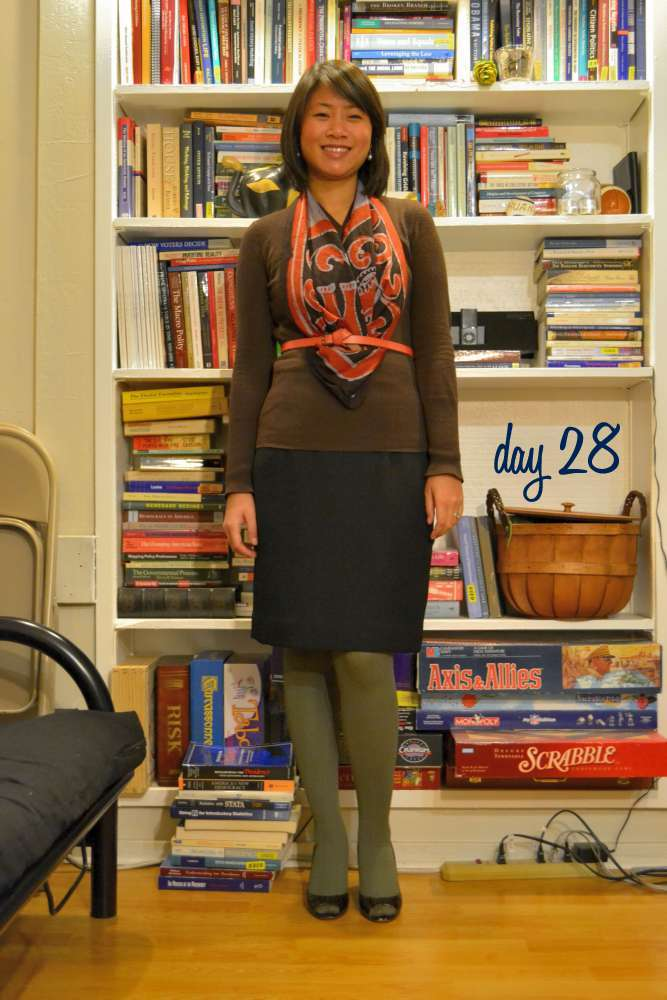 sacramento office fashion blogger angeline evans the new professional gap sweater swapped black pencil skirt enzo angiolini peep toes green cable knit tights simply vera wang kohls vintage scarf belted