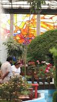 Jardín botánico, al fondo el Cosmovitral