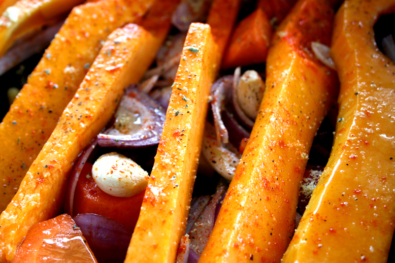 ::Spicy Sticky Roast Squash Salad!