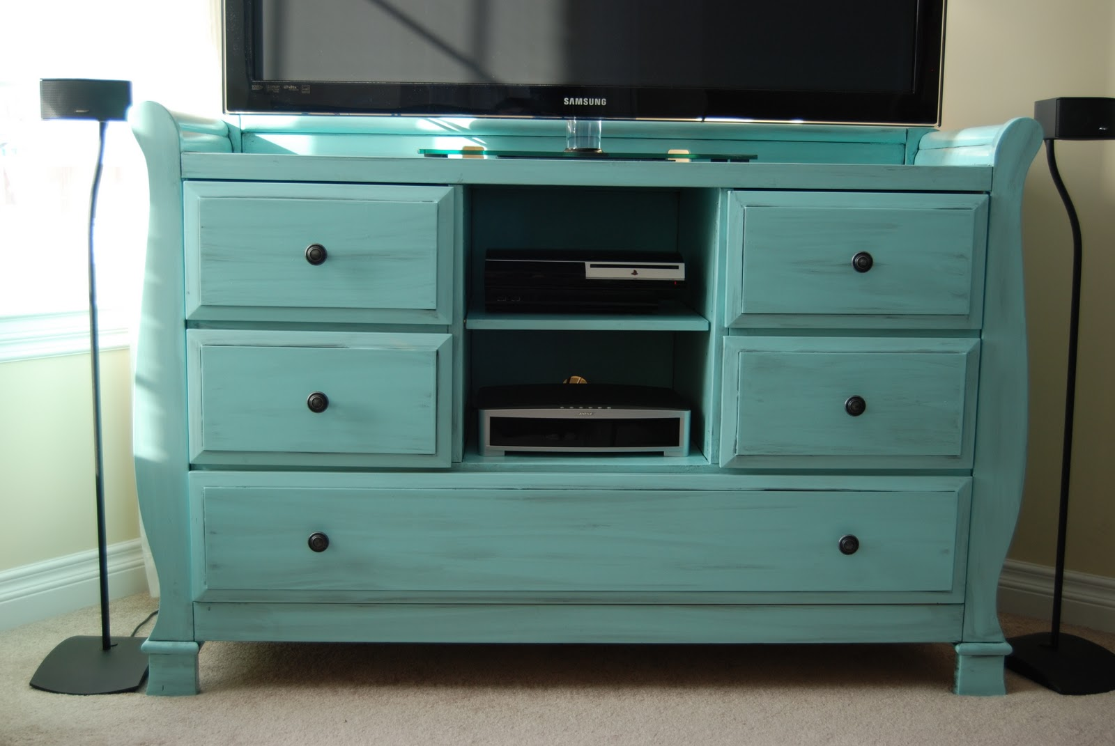Sparkle Changing Table turned EntertainmentMedia Center