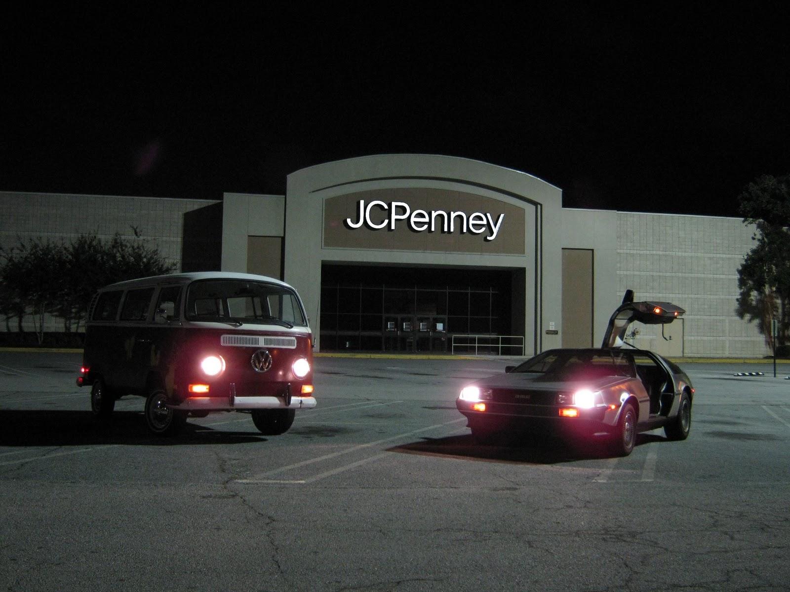 dmc  delorean vw bus recreate twin pines mall chase