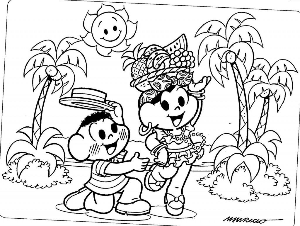 Desenhos Turma Da Monica Cascao E Monica Dancando Colorir E