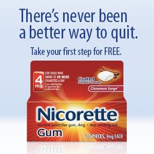 Free sample nicorette gum.