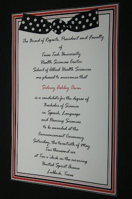 Whitney owen designs texas tech university graduation announcements ashley owen texas tech graduation announcement filmwisefo