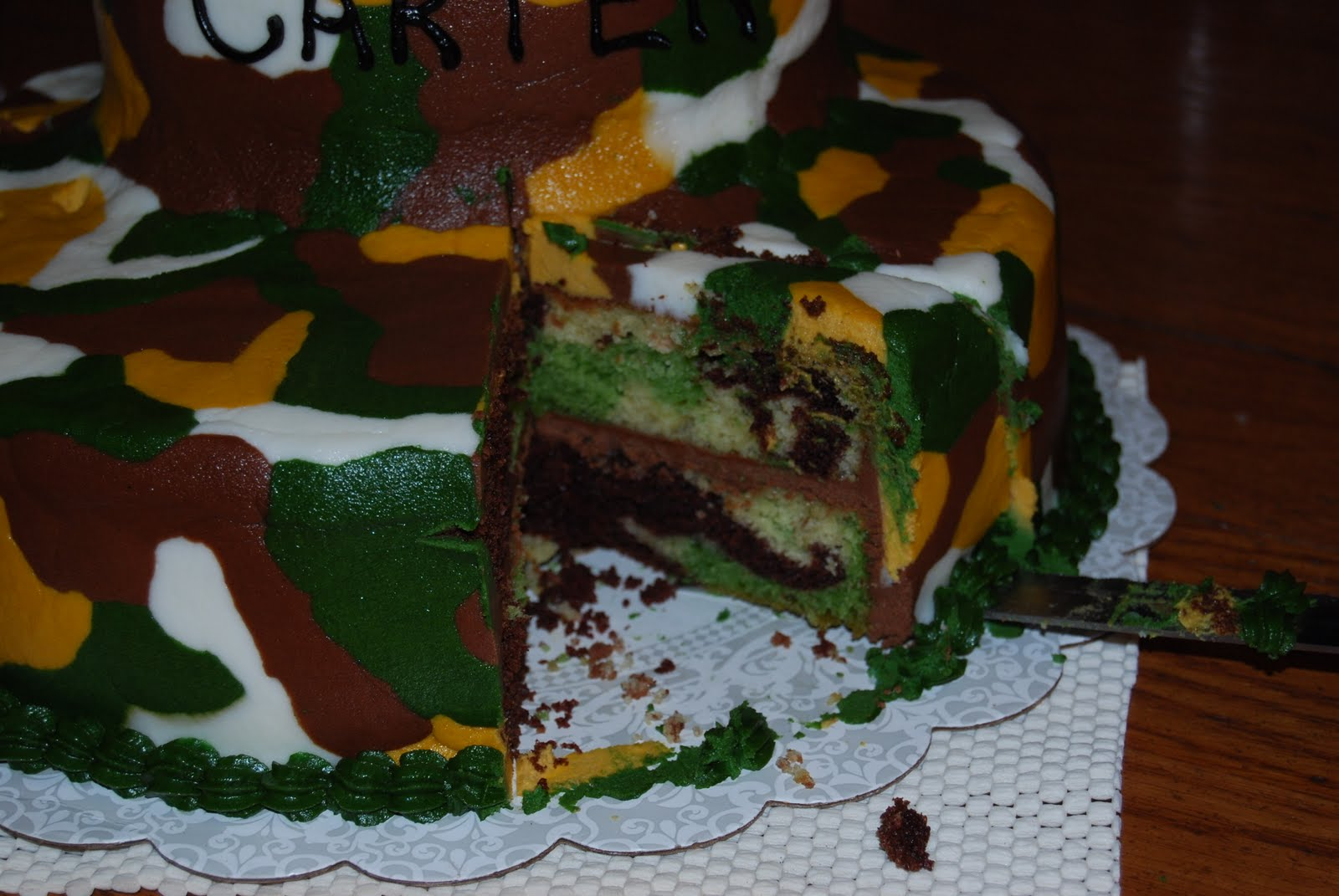Saving Dougs Sanity How I made a camouflage cake inside and out