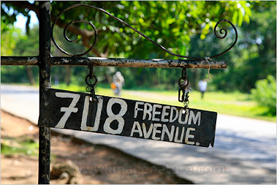 African road sign saying FREEDOM AVENUE