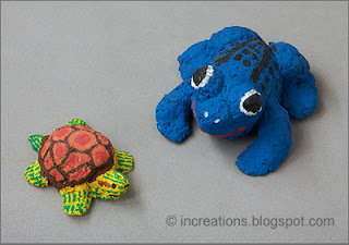 Turtle and frog, pulp papier-mache