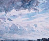 Estudio de nubes sobre un paisaje amplio