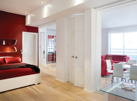 Owning a loft may brand you lot pay to a greater extent than attending inwards it New Home Ideas- Innocuous Red Interior In White Loft Design