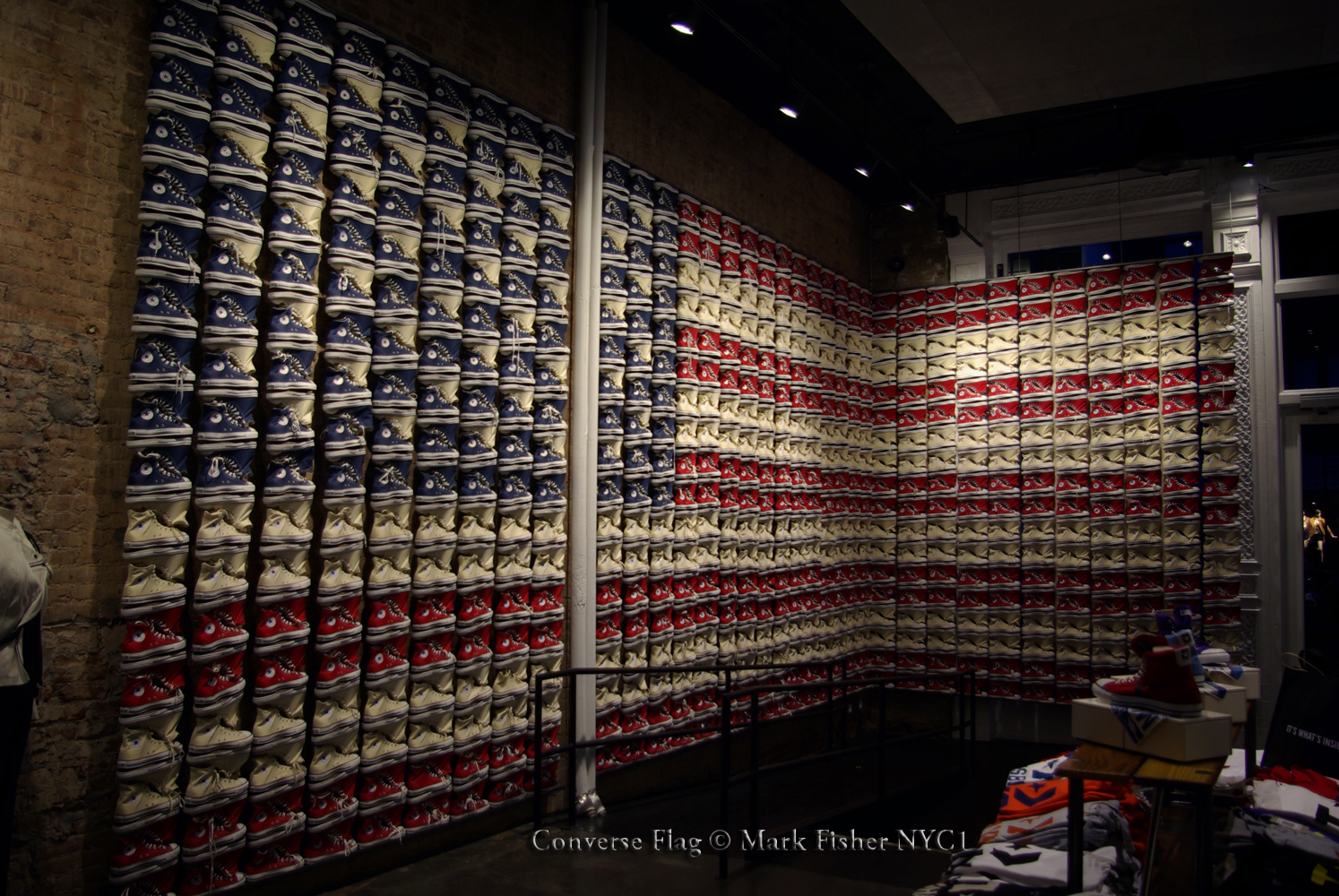 5a28bb06add0 American Flag Of Converse Shoes • New York City Image • Photographer Mark  Fisher. Converse Flagship Store