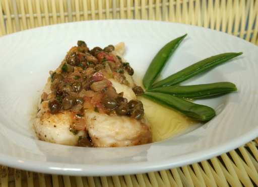 healthy eating halibut with lemon and caper sauce