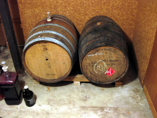 The apple brandy barrel (right) was originally a bourbon barrel before Laird's got their hands on it.
