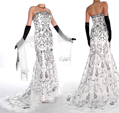 P527 Black and White Embroidery Gown