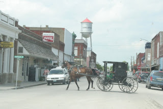 An Amish horse and buggy in Jamesport, Missiouri